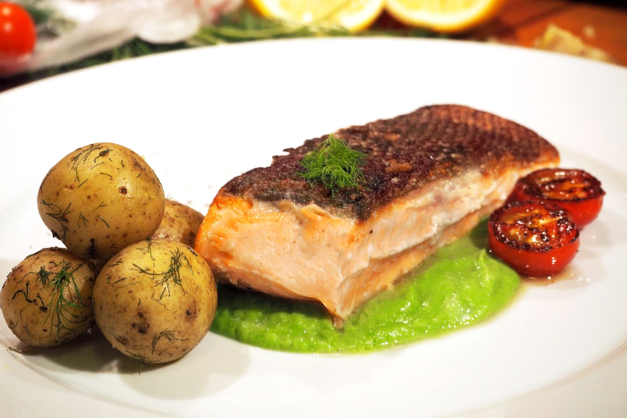 Glorious salmon with pea purée