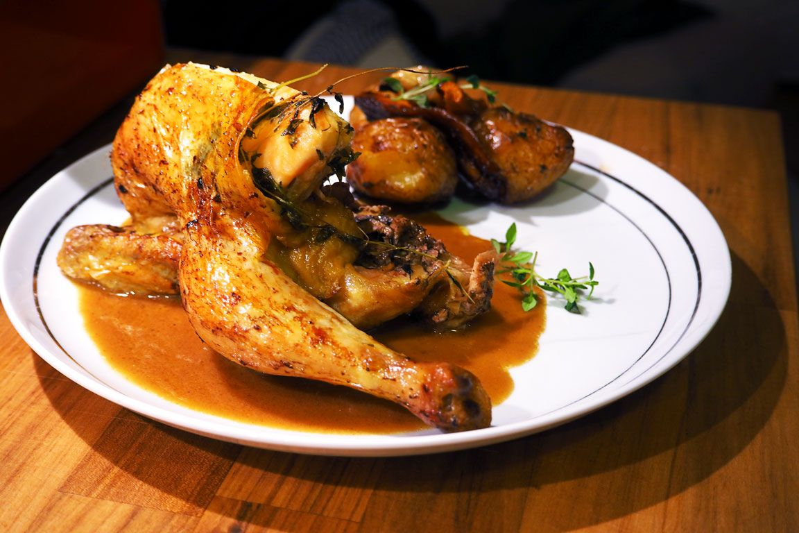 Oven roasted chicken with Madeira sauce