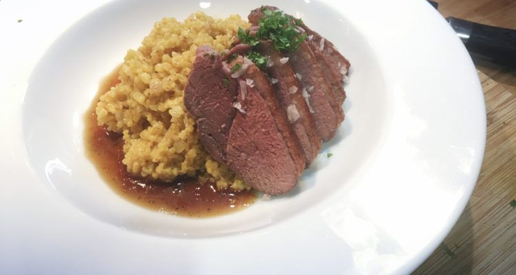 Duck à l'orange with saffron seasoned pearl barley
