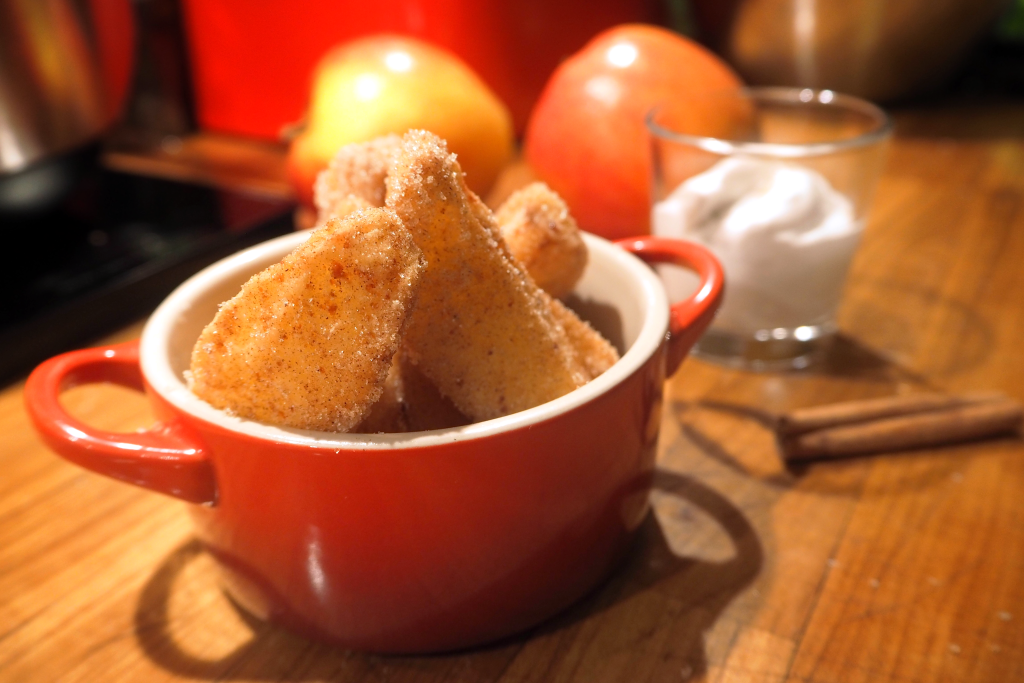 Apple fries with coconut dip