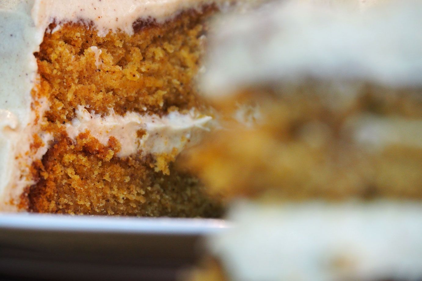 Pumpkin cake with pumpkin spiced frosting